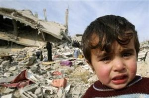 Image of child in war torn Gaza